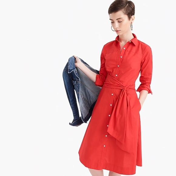 J. Crew Dresses & Skirts - J.Crew Tie-waist shirtdress in cotton poplin